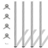 4 Height Adjustable Table Legs Chrome 1100 mm