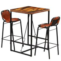 vidaXL Bar Set 3 Pieces Solid Reclaimed Wood and Genuine Goat Leather