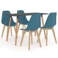 vidaXL 5 Piece Dining Set Turquoise