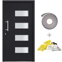 vidaXL Front Door Aluminium and PVC Anthracite 110x210 cm