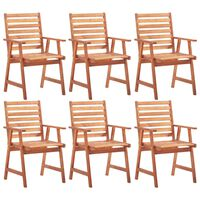 vidaXL Outdoor Dining Chairs 6 pcs Solid Acacia Wood