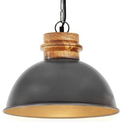 vidaXL Industrial Hanging Lamp Grey Round 32 cm E27 Solid Mango Wood