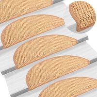 vidaXL Self-adhesive Stair Mats Sisal-Look 15 pcs 56x20 cm Orange