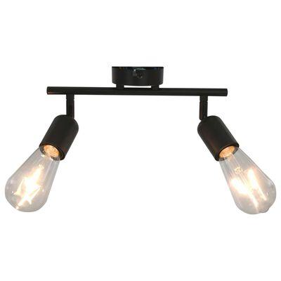 vidaXL 2-Way Spot Light with Filament Bulbs 2 W Black E27, Black