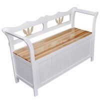 vidaXL Storage Bench 126x42x75 cm Wood White