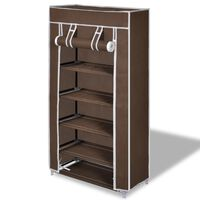 Fabric Shoe Cabinet with Cover 58 x 28 x 106 cm Brown