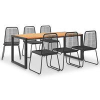vidaXL 7 Piece Outdoor Dining Set Solid Acacia Wood and Poly Rattan