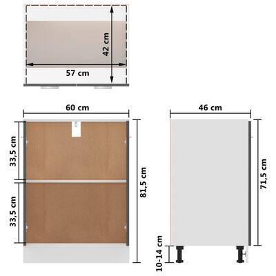 vidaXL Bottom Cabinet High Gloss Grey 60x46x81.5 cm Chipboard