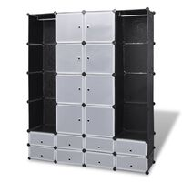 vidaXL Modular Cabinet 18 Compartments Black and White 37x146x180.5 cm