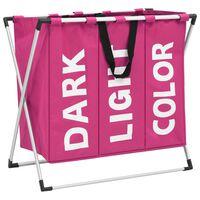 vidaXL 3-Section Laundry Sorter Pink