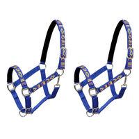 vidaXL Head Collars 2 pcs for Horse Nylon Size Cob Blue