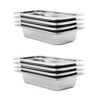 vidaXL Gastronorm Containers 8 pcs GN 1/3 65 mm Stainless Steel
