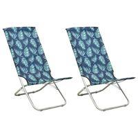 vidaXL Folding Beach Chairs 2 pcs Leaf Print Fabric