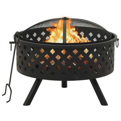 vidaXL Fire Pit with Poker 68 cm XXL Steel