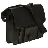 vidaXL Laptop Bag Real Leather Black