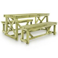 vidaXL Beer Table with 2 Benches Wood