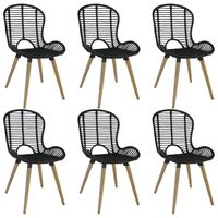 vidaXL Dining Chairs 6 pcs Black Natural Rattan