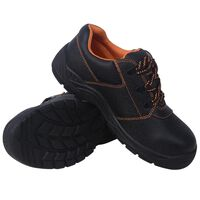 vidaXL Safety Shoes Black Size 10.5 Leather
