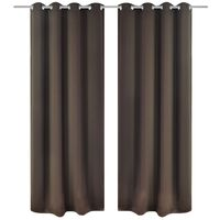 vidaXL Blackout Curtains 2 pcs with Metal Eyelets 135x175 cm Brown