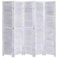 vidaXL 5-Panel Room Divider Grey 175x165 cm Wood