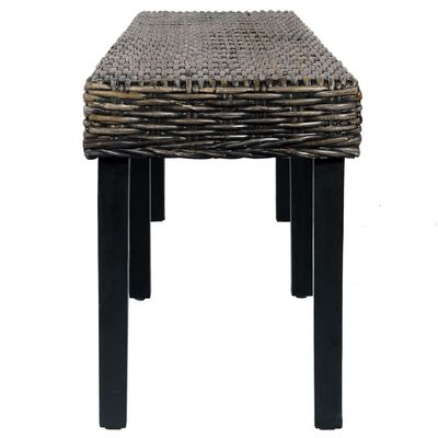 vidaXL Bench 160 cm Black Natural Kubu Rattan and Solid Mango Wood