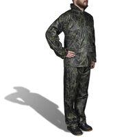 Men's Camo Print 2-Piece Rain Suit with Hood XL