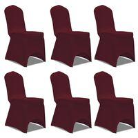Chair Cover Stretch Burgundy 6 pcs