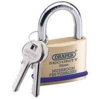 Draper Tools Padlock with 2 Keys Solid Brass 50 mm 64162