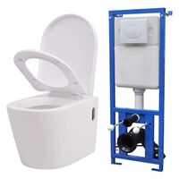vidaXL Wall Hung Toilet with Concealed Cistern Ceramic White