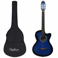 vidaXL 12 Piece Western Guitar Set with Equalizer and 6 Strings Blue