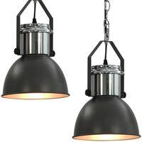 vidaXL Ceiling Lamp 2 pcs Grey Round E27