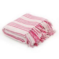 vidaXL Throw Cotton Stripes 125x150 cm Pink and White