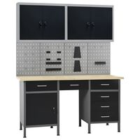 vidaXL Workbench with Four Wall Panels and Two Cabinets