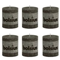Bolsius Rustic Pillar Candle 80 x 68 mm Anthracite 6 pcs