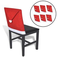 6 Santa Claus Hat Chair Back Covers