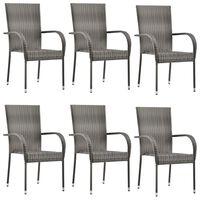 vidaXL Stackable Outdoor Chairs 6 pcs Grey Poly Rattan