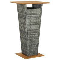 vidaXL Bar Table Grey 60x60x110 cm Poly Rattan and Solid Acacia Wood