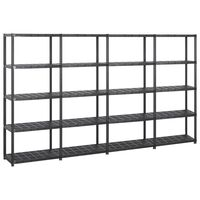 vidaXL Storage Shelf 5-Tier Black 284x38x170 cm Plastic