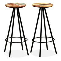 vidaXL Bar Stools 2 pcs Solid Reclaimed Wood