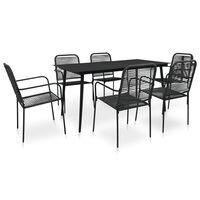vidaXL 7 Piece Outdoor Dining Set Cotton Rope and Steel Black