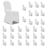 vidaXL Chair Cover Stretch White 30 pcs