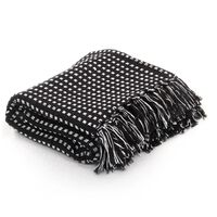 vidaXL Throw Cotton Squares 220x250 cm Black