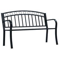 vidaXL Garden Bench 125 cm Black Steel