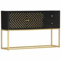 vidaXL Sideboard Black and Gold 120x30x75 cm Solid Mango Wood