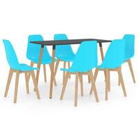 vidaXL 7 Piece Dining Set Blue