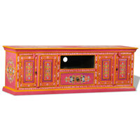 vidaXL TV Cabinet Solid Mango Wood Pink Hand Painted
