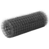 vidaXL Chicken Wire Fence Steel with PVC Coating 25x0.5 m Grey