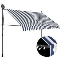 vidaXL Manual Retractable Awning with LED 250 cm Blue and White