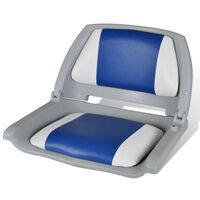 Boat Seat Foldable Backrest With Blue-white Pillow 41 x 51 x 48 cm