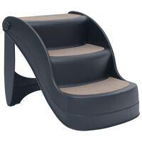 vidaXL Folding 3-Step Dog Stairs Dark Grey